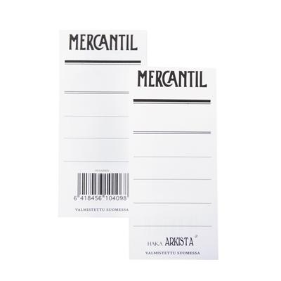 Mapin etiketti Mercantil pun /100 kpl - kaksipuolinen etiketti 8 cm leveään punaiseen mappiin (EAN)