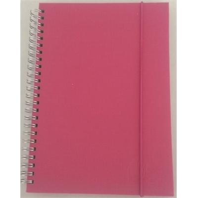 Kangaspäällysteinen muistikirja A5/70 pinkki kierreselkä