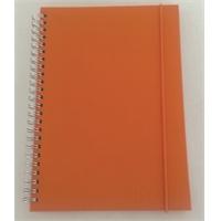 Kangaspäällysteinen muistikirja A6/70 oranssi kierreselkä