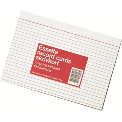 Kortistokortti A5 viivaus valkoinen/100 kpl paketti