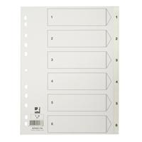 Hakemisto / välilehdet Q-Connect A4 1-6 PP muovi valkoinen