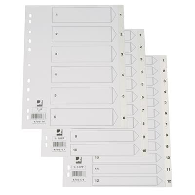 Hakemisto / välilehdet Q-Connect A4 1-10 PP muovi valkoinen