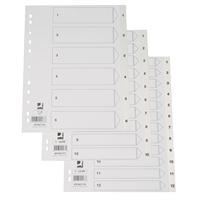 Hakemisto / välilehdet Q-Connect A4 1-12 PP muovi valkoinen