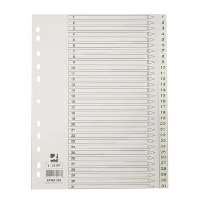 Hakemisto / välilehdet Q-Connect A4 1-31 PP muovi valkoinen