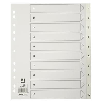 Hakemisto / välilehdet Q-Connect 1-10 PP muovi ylileveä valkoinen