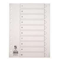 Hakemisto / välilehdet Q-Connect A4 10-osainen blanko kartonki valkoinen