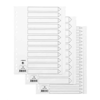 Hakemisto / välilehdet Q-Connect A4 20-osainen blanko kartonki valkoinen