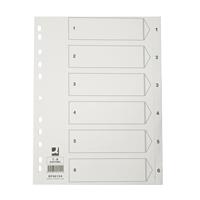 Hakemisto / välilehdet Q-Connect A4 1-6 kartonki valkoinen