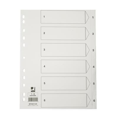 Hakemisto A4/1-6 kartonki, valkoinen