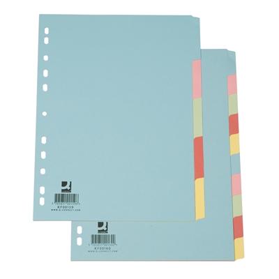 Hakemisto / välilehdet Q-Connect A4 10-os blanko kartonki värillinen