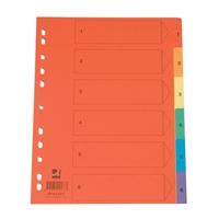 Hakemisto Q-Connect A4 1-6 kartonki värillinen