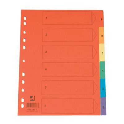 Hakemisto / välilehdet Q-Connect A4 1-6 kartonki värillinen