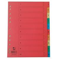 Hakemisto / välilehdet Q-Connect A4 1-10 kartonki värillinen