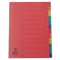 Hakemisto / välilehdet Q-Connect A4 1-12 kartonki värillinen