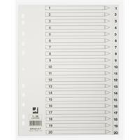 Hakemisto / välilehdet Q-Connect A4 1-20 kartonki valkoinen