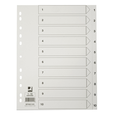 Hakemisto A4/1-10 kartonki, valkoinen