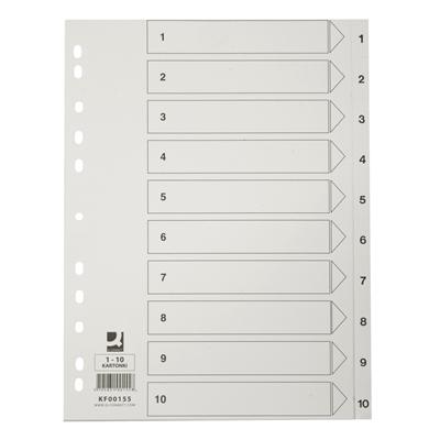 Hakemisto / välilehdet Q-Connect A4 1-10 kartonki valkoinen