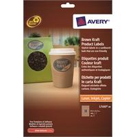 Tulostintarra Avery L7103-20 63,5x42,3/360 ovaali ruskea
