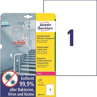 Lasertarra antibakteerinen Avery L8011-10 210x297 Läpinäkyvä