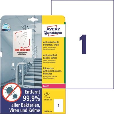 Lasertarra antibakteerinen Avery L8001-10 210x297 Valkoinen