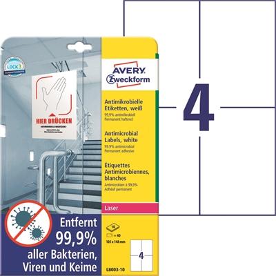 Lasertarra antibakteerinen Avery L8003-10 105x148 Valkoinen