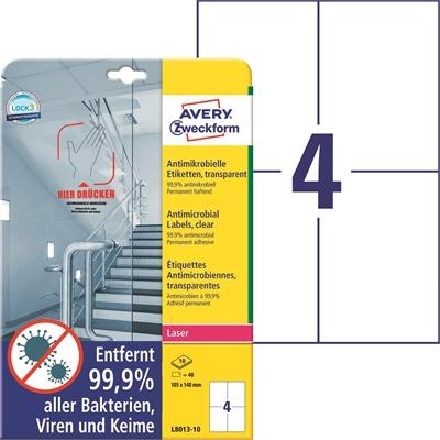 Lasertarra antibakteerinen Avery L8013-10 105x148 Läpinäkyvä
