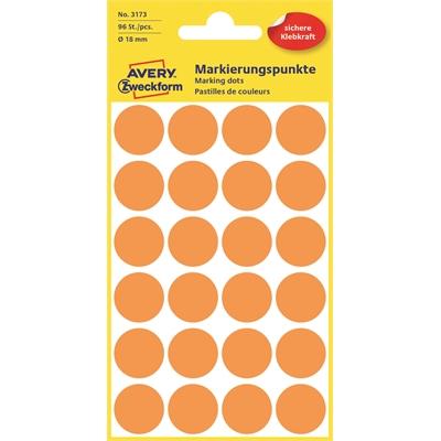 Etiketti Avery 3173 18/96 pyöreä oranssi