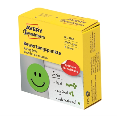 Minietiketti Avery 3858 smiley Ø19 mm vihreä/250