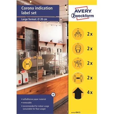 Tarra hygienia Avery 49415 irrotettava - keltaisia esipainettuja hygieniasta muistuttavia tarroja