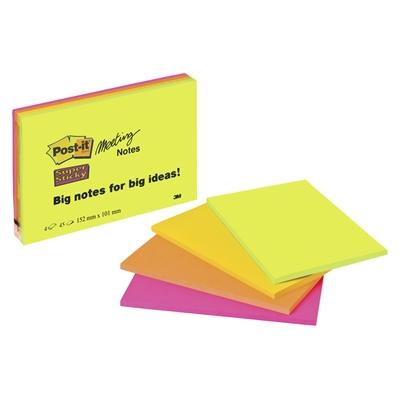 Viestilappu Post-it Super Sticky Meeting notes A6  4KPL