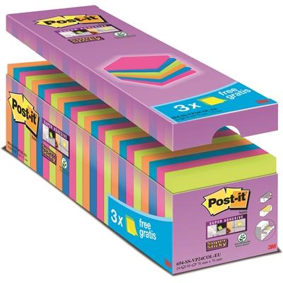 Viestilappu Super Sticky654 76x76 värillinen etupakkaus 24