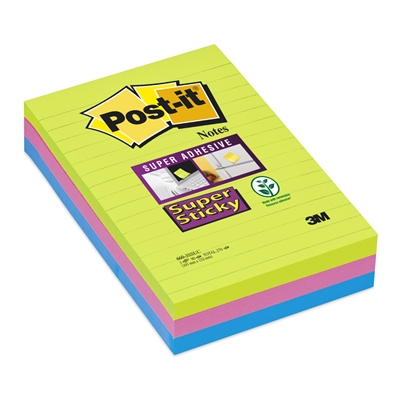 Viestilappu Super Sticky 101X152 viivat ultra /3 kpl