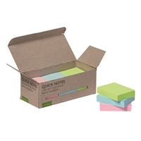 Viestilappu Q-Connect Eko 38x51mm pastelli/12 kpl pkt - 100% kierrätetty materiaali, myös pakkaus