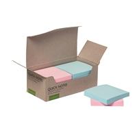Viestilappu Q-Connect Eko 76x76mm pastelli/12 kpl pkt - 100% kierrätetty materiaali, myös pakkaus
