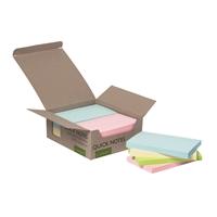 Viestilappu Q-Connect Eko76x127mm pastelli/12 kpl pkt - 100% kierrätetty materiaali, myös pakkaus
