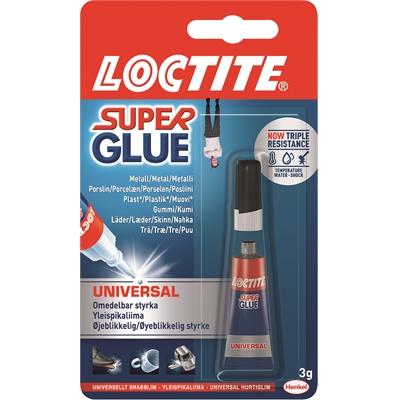 Pikaliima Loctite Super Glue Universal 3g - kuivuu nopeasti, kestää konepesua, iskuja ja lämpöä