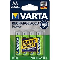 Akkuparisto Varta Recharge Accu AA 2600mAh  /4 kpl pkt - heti valmis käyttöön