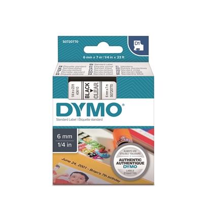 Tarrakasetti Dymo D1 43610 6mm kirkas/musta