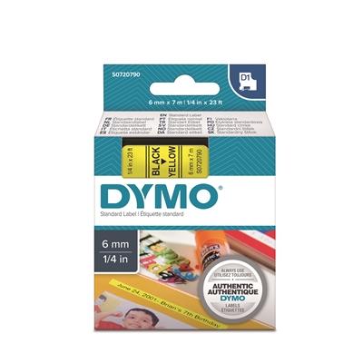 Tarrakasetti Dymo D1 6mm x 7m keltainen/musta - 100 % kierrätysmuovia, FSC-sertifioitu tarrapaperi
