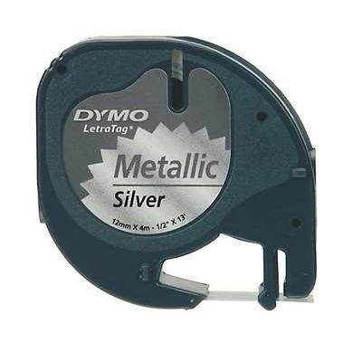 Teippi Dymo Letratag 12mm hopea/must