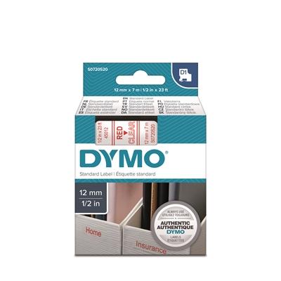 Tarrakasetti Dymo D1 12mm x 7m kirkas/punainen - 100 % kierrätysmuovia, FSC-sertifioitu tarrapaperi