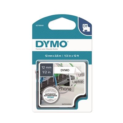 Tarrakasetti Dymo D1 nylon 12mm valkoinen/musta