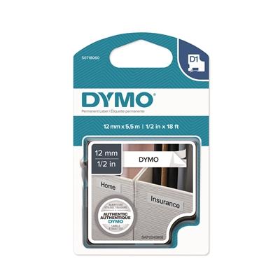 Tarrakasetti Dymo D1 permanent 12mm valkoinen/musta
