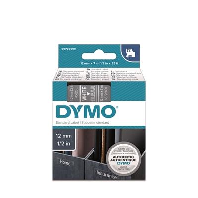Tarrakasetti Dymo D1 polyesteri 12mm kirkas/valkoinen