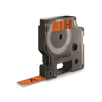Tarrakasetti Dymo D1 kesto 12mm x 3m oranssi/musta - 100 % kierrätysmuovi, FSC-sertifioitu paperi