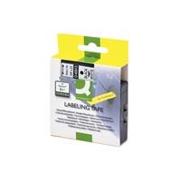 Tarrakasetti Q-Connect 40913 9mm val/musta - vaihtoehtoinen tarrakasetti Dymo tarratulostimiin