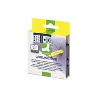 Tarrakasetti Q-Connect 45013 12mm val/musta - vaihtoehtoinen tarrakasetti Dymo tarratulostimiin