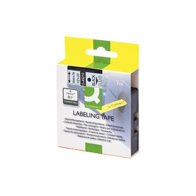 Tarrakasetti Q-Connect 45010 12mm kirkas/musta - vaihtoehtoinen tarrakasetti Dymo tarratulostimiin