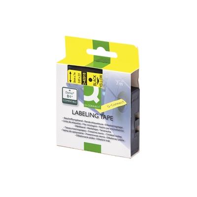 Tarrakasetti Q-Connect 40918 9mm kelt/musta - vaihtoehtoinen tarrakasetti Dymo tarratulostimiin