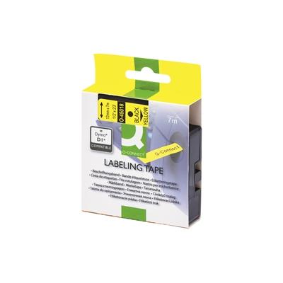 Tarrakasetti Q-Connect 45018 12mm kelt/musta - vaihtoehtoinen tarrakasetti Dymo tarratulostimiin